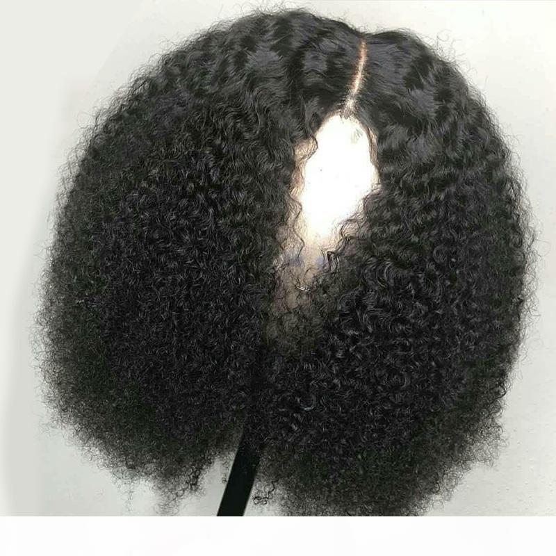 волосы парики шнурка Glueless Kinky Afro завитые Virgin бразильский Человеческий передний и полный шнурок естественный цвет для чернокожих женщин
