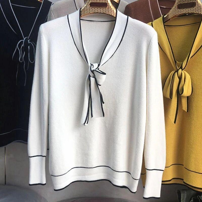Женщины осень с длинным рукавом Лук Knit Top Solid Color Tie Knot свитер кардиган пуловер передний Сыпучие Panlled рубашка