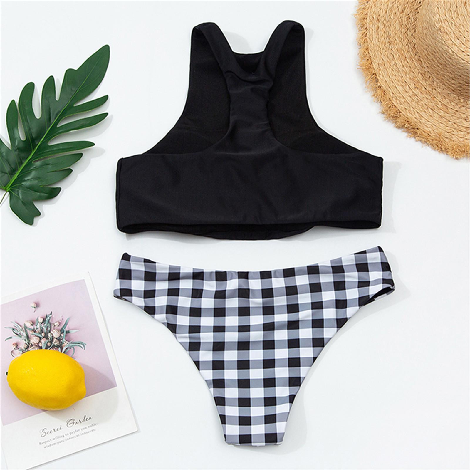 Klasik Bikini Set Kadınlar Siyah Sutyen Yelek + Ekose Külot Seksi Bikini Set Brezilyalı Plaj Mikro Mayo Push Up Bikini Set Kadın Q1230