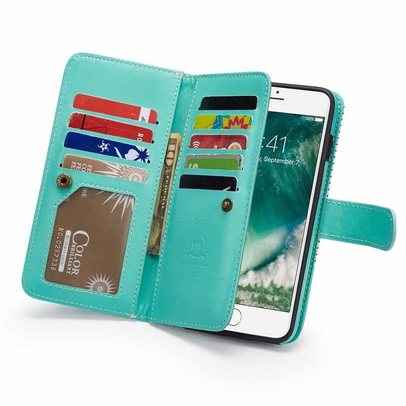 Caja de cuero de la cartera de la billetera de la raya de la moda 6 6s 7 8 Plus Tapa de las ranuras de tarjetas para iPhone XS max xr x