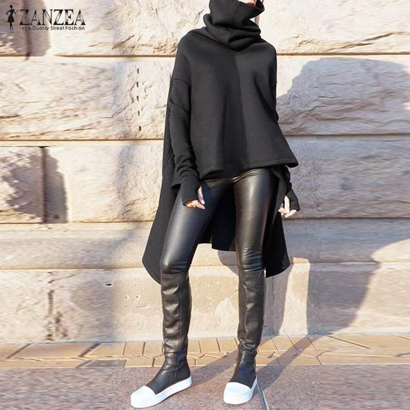 Женские толстовки для толстовки для женщин с капюшоном Хараджуку Асимметричные Hooies Толстовка Zanzea High Woll Wellwear Tops Fashion Sudaderas 7