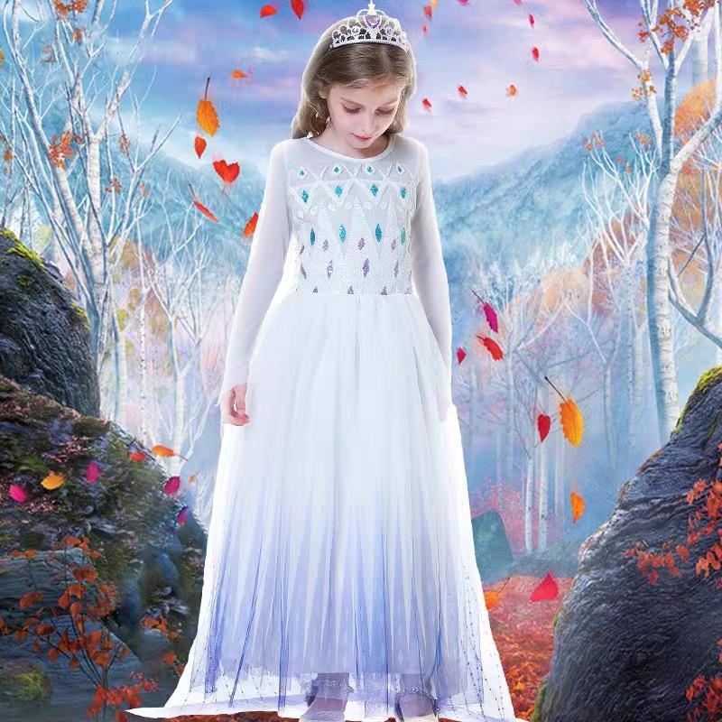 Snow Queen 2 Weiß Mädchen-Halloween-Kostüm Kind Weihnachten Kinder Kleider Baby Chrismas Kinder Feiertags-Kleid