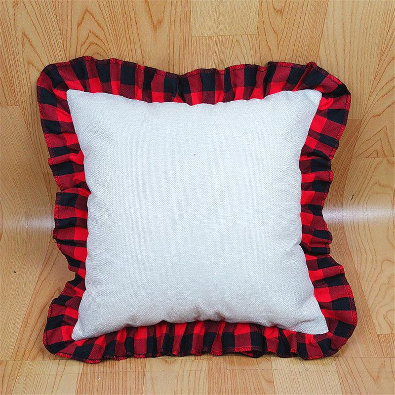 45*45cm Blank Sublimation Red Black Plaid Pillow Case DIY Thermal Transfer Linen Lace Throw Pillow Case Cushion Cover Home Decor D102902