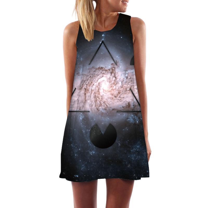 KYKU Galaxy Dress espacio geométrico Partido Nebulosa del tanque Mujeres Vortex Boho gótica mujeres cortas de ropa de mujer frescos ocasionales Moda