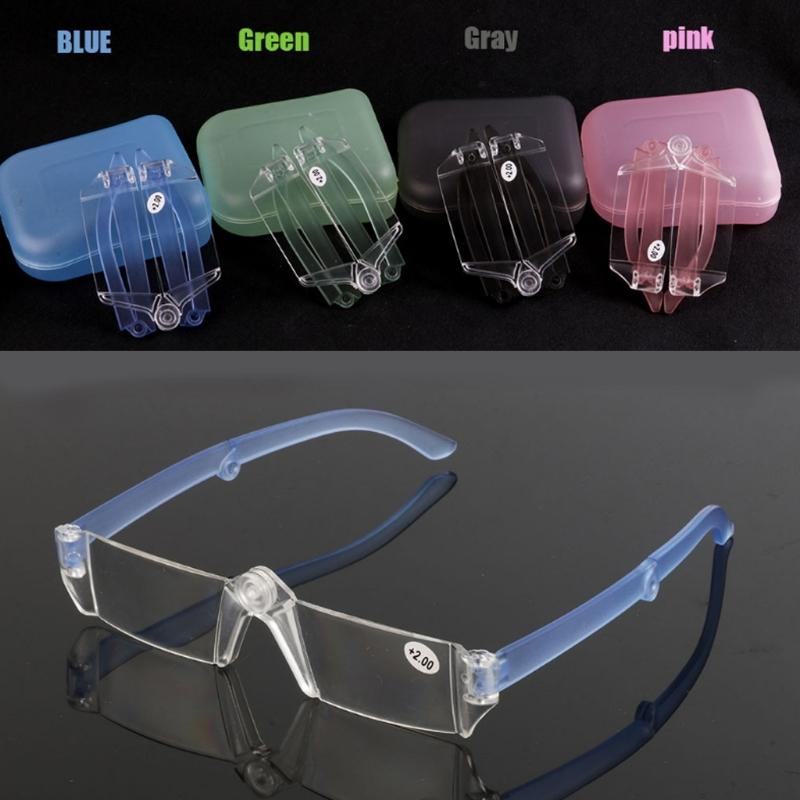 Unisex Presbyopic Glasses Folding Reading Eyeglasses Rimless +1.0~+3.5 with Case