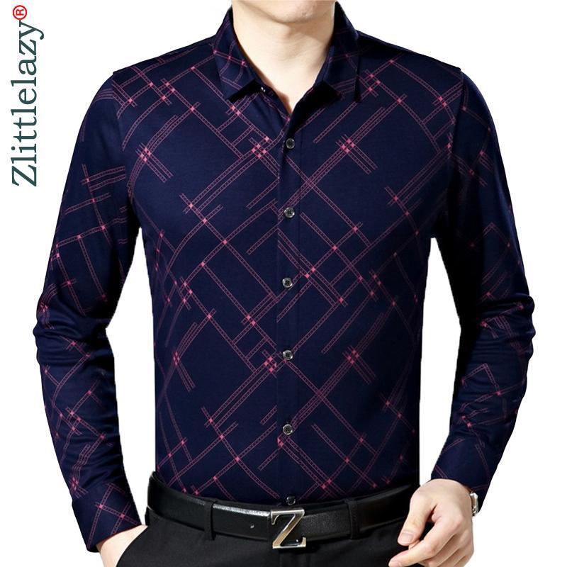 Yeni Erkek Moda Marka Rahat Iş Slim Fit Erkekler Gömlek Camisa Uzun Kollu Ekose Sosyal Gömlek Elbise Giyim Jersey 6637 201026