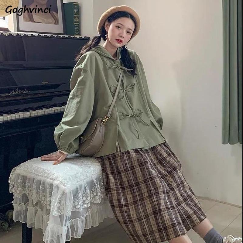 Жутки женские Kawaii лук узел с капюшоном негабаритный досуг Корейский стиль Harajuku студенты с длинным рукавом прекрасные студенты винтажные шикарные