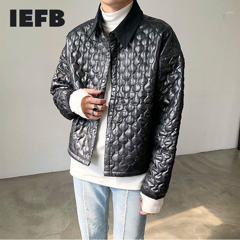IEFB Abbigliamento da uomo Risvolto leggero Black Parkas 2020 Autunno inverno Nuova manica lunga a maniche lunghe Breasket in cotone Giacche imbottite 43831