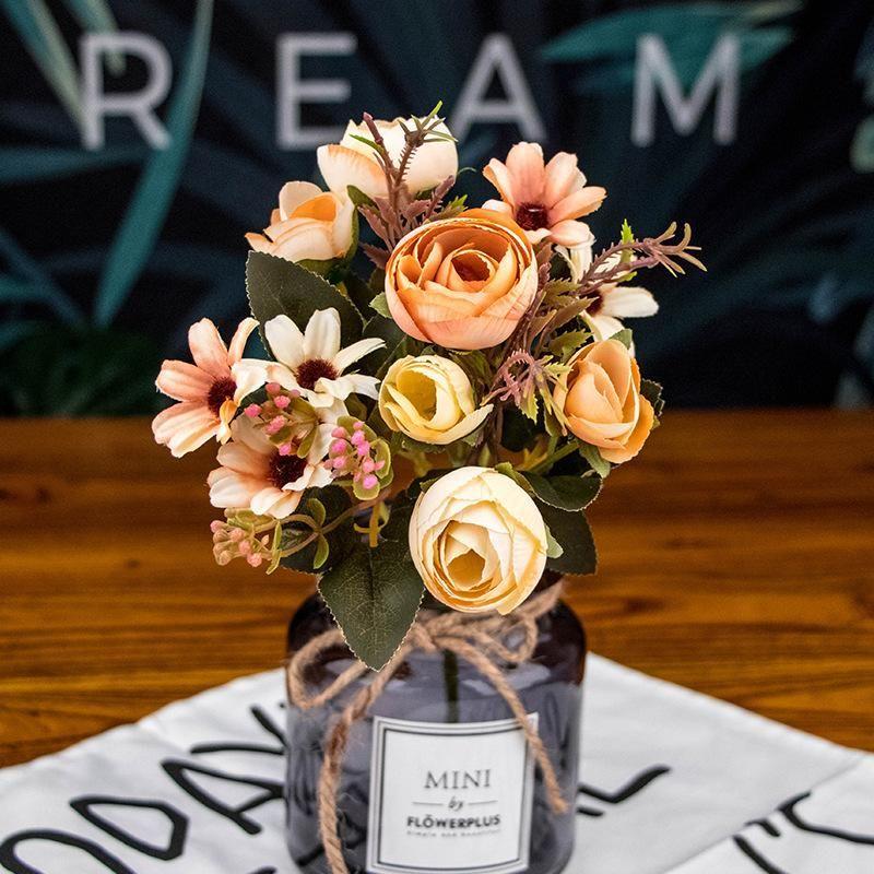Декоративные цветы венки 2 шт. Искусственный розовый шелковый цветок для домашнего украшения симуляции жемчуг женат, удерживает букет букет