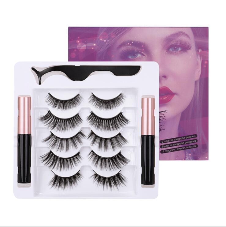 STOCK 5 paires Cils magnétique Traceur liquide Kit avec des pincettes réutilisables 3D 6D Faux-Cils Eyeliner magnétique naturel