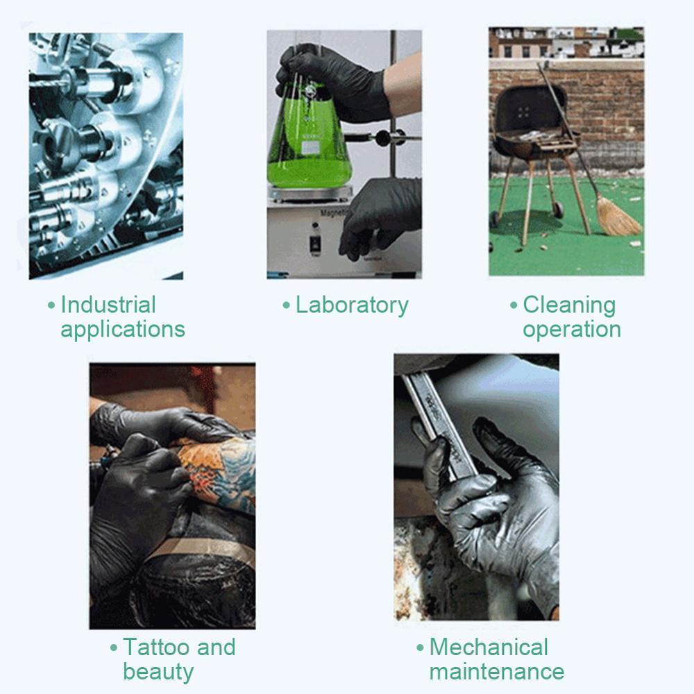 Reinigung 100pcs / set Haushaltswasch Einweg-Mechaniker Handschuhe Schwarz Nitril Laboratory Nail Art Anti-Statik-Handschuhe Y200421 VXPH