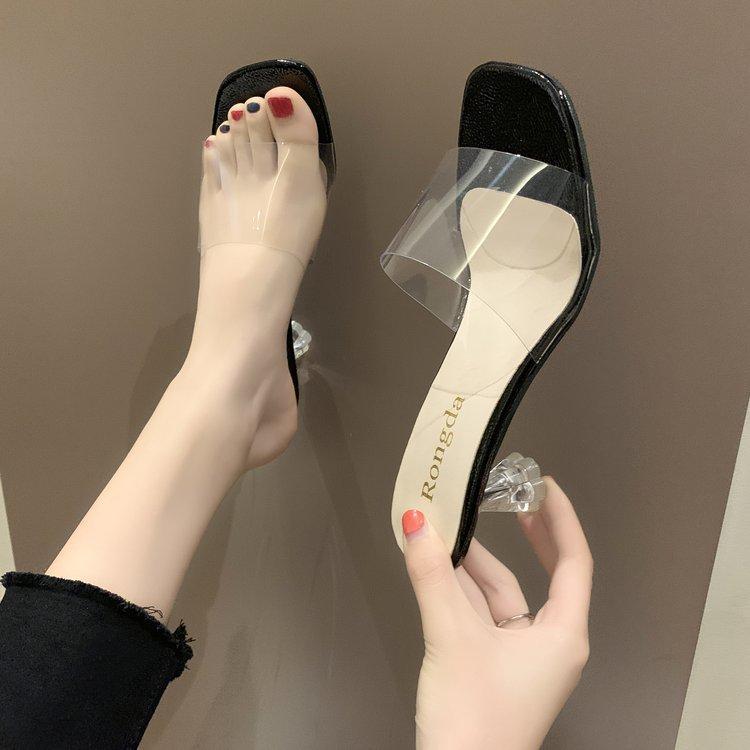 Zapatos tacones delgados zapatillas transparentes diapositivas zapatillas mujeres tacones mulas moda 2021 verano alto suave lujo roma roma roma pu