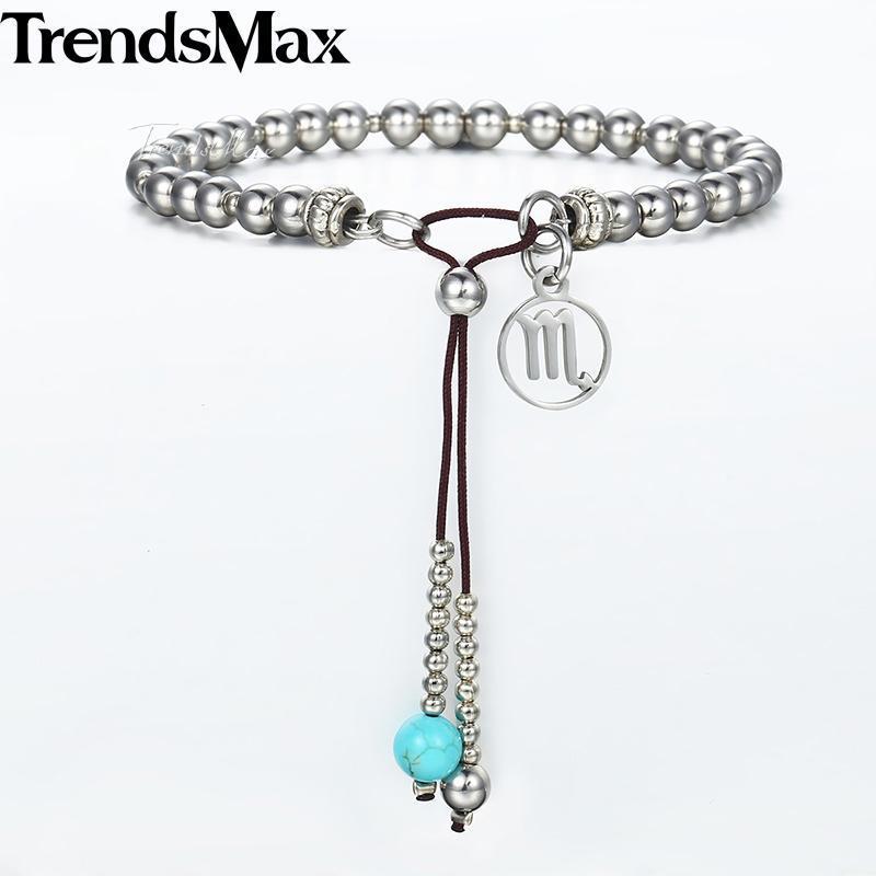 Couleur argent Perles Bracelet en acier inoxydable pour les femmes 12 Zodiac Charm Constellations Femme Bracelets de bijoux à la mode cadeau DB63
