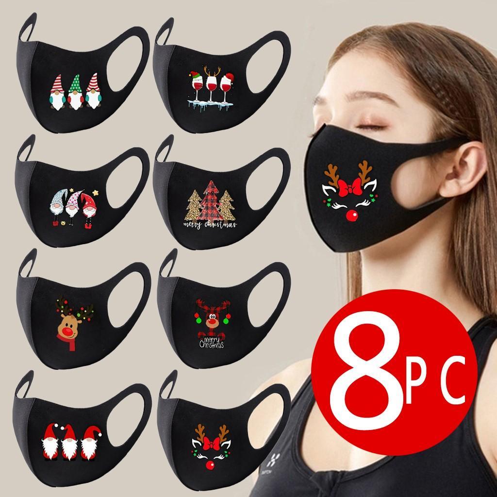 Máscara 8PCS Mascarar cara Adultos Unisex Natal Impresso Boca Ice seda Máscara ajustável respirável Dustproof Máscara Mascarillas