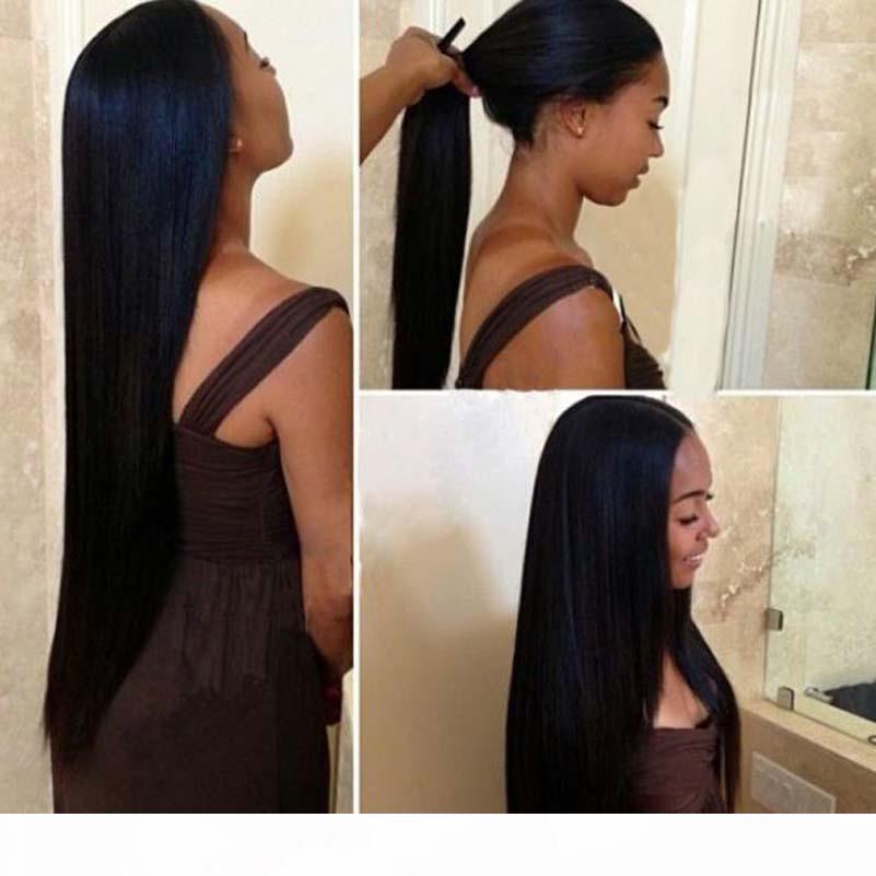 Virgin Brasileño Yaki Straight Lea Legal Peluca natural Encaje completo Pelucas de cabello humano Peluca delantera de encaje sin glóvía para mujeres negras
