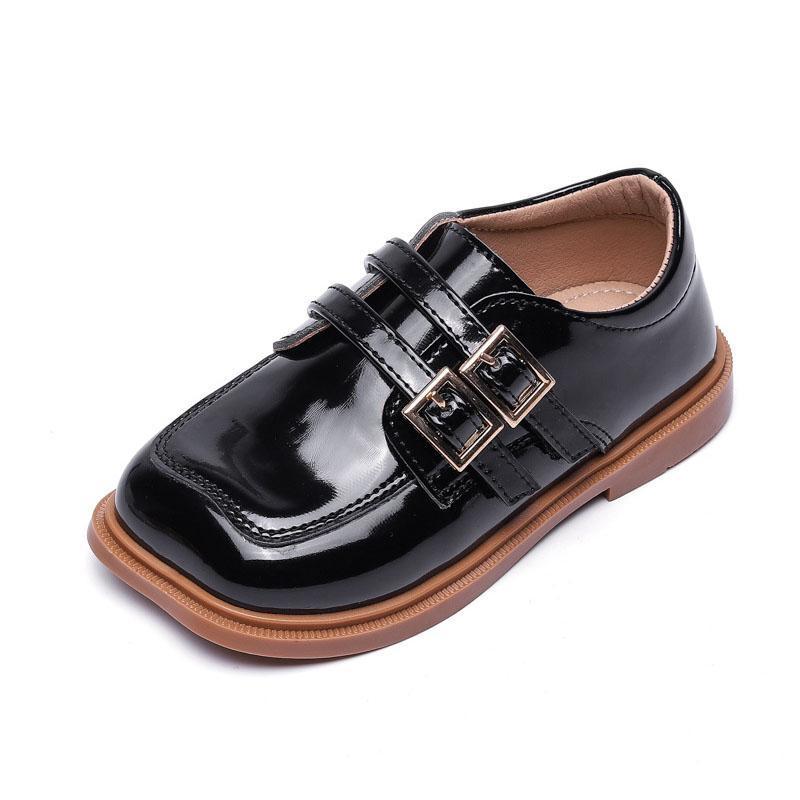 Atlético al aire libre Capsella Kids Classic Hook Loop Patent Shoes Zapatos de cuero para niños Pisos de moda retro para niñas Tamaño casual 21-30