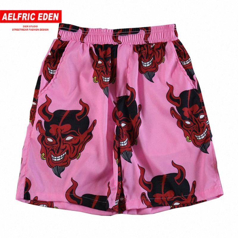 Aelfric Eden 2020 Estate Hawaii Beach Shorts Devil intero Stampa di moda di Harajuku casuale di Hip Hop ginocchio lunghezza Corti Streetwear zrRn #