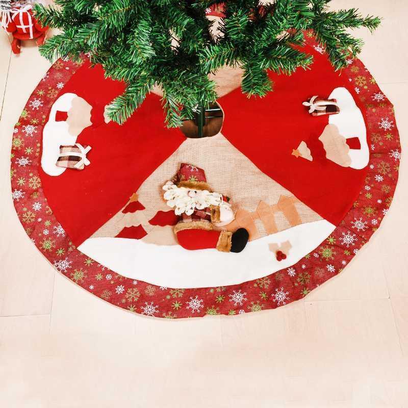 Falda de árbol de Navidad Año Nuevo Regalo Árbol de Navidad Mat a cuadros Redondos Arbol de Navidad Grande 100cm Falda de Navidad Natal 20211