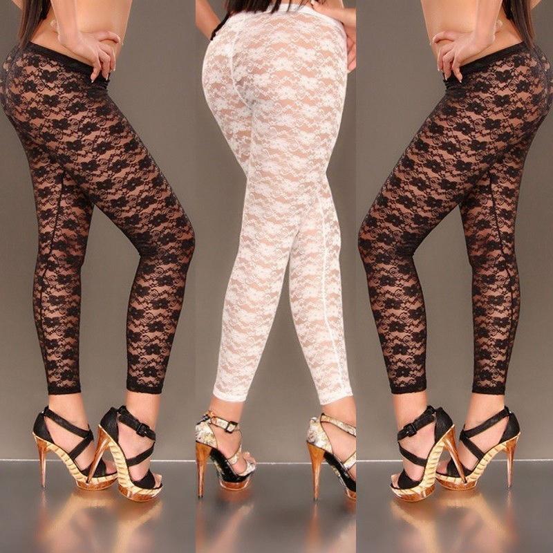 hirigin sexy delle donne stampa floreale elegante Magro della cavità del merletto Leggings See Through pantaloni elastici aderente Jeggings Nero Bianco