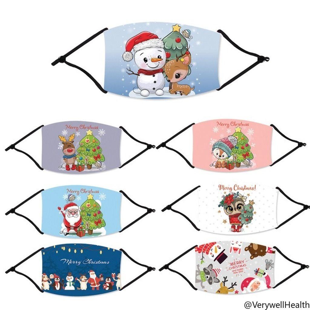 Maschere Maschere di Natale di modo stampata cervi natale Viso Anti polvere del fiocco di neve di Natale Bocca fodera lavabile riutilizzabile con maschere filtri VH05