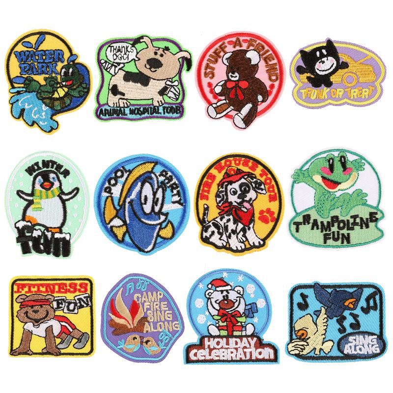 3M autoadhesivo bordado parche paño pegatinas de dibujos animados animal estilo parche hierro en ropa accesorios bordados parches
