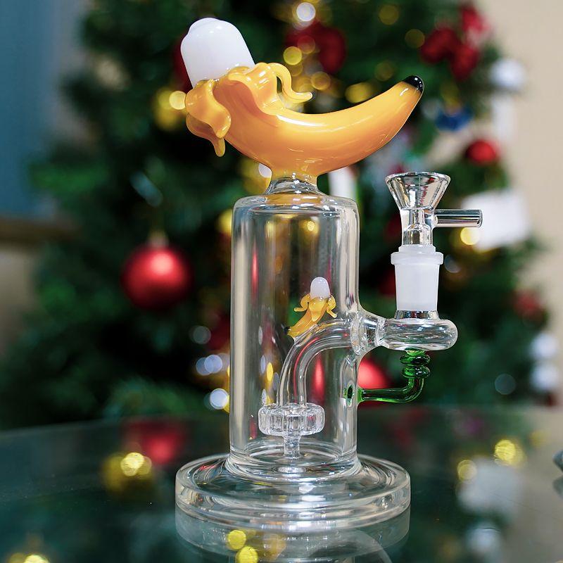 Mais novo de vidro heady bong banana forma Óleo de plataformas dablehead perc tubulações de água 14mm articulação feminina articulação original bongs com fogueiras tigela
