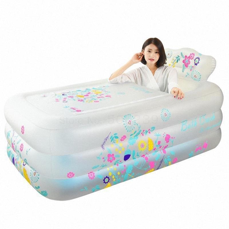 Engrosamiento de la bañera inflable adulto del hogar Baño Artefacto bañera plegable Niños térmica sAxf #