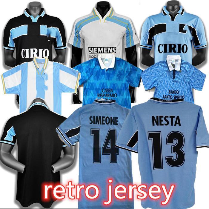 1989 1991 Salas Soccer Jersey Retro 99 00 Salas Mancini Nesta Mihajlovic Simeone Nedved Nedved En Jersey Ravanelli Jersey Maglia da Calcio