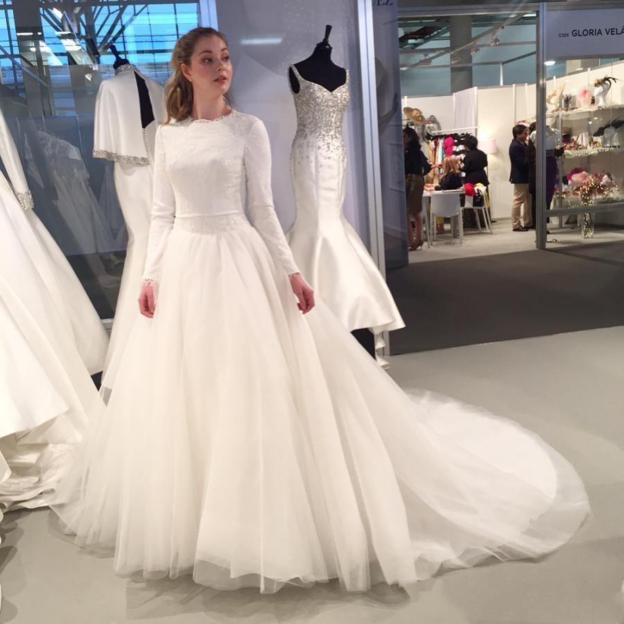 2021 Modest Musulmani Maniche lunghe Abiti da sposa Pure Bianco Pizzo Gioiello Gioiello Neck Arabo Dubai Abiti da sposa Una linea Tulle Sweep Train Vestidos de