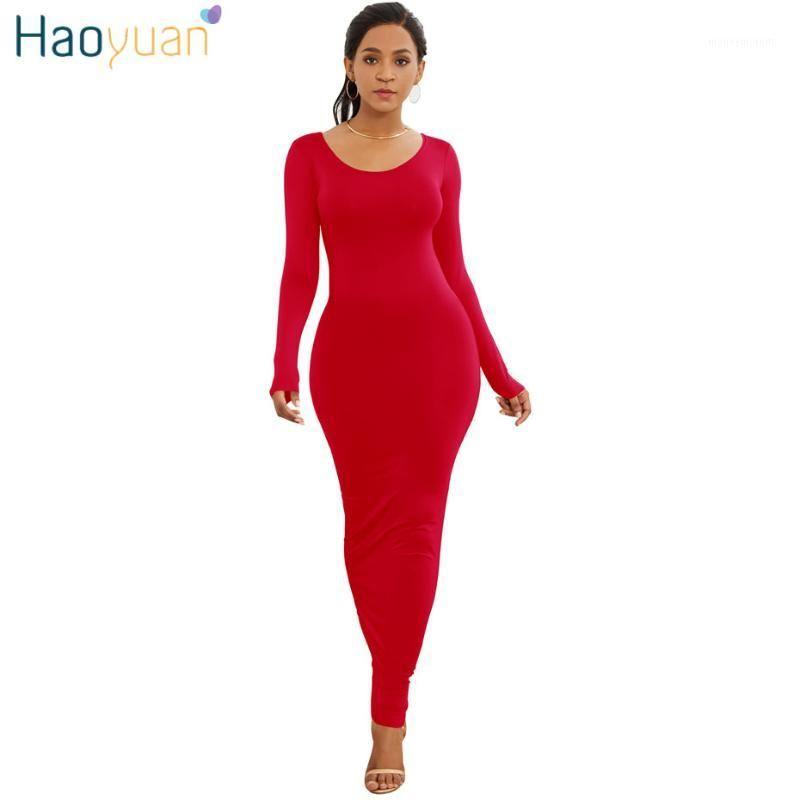 Abiti casual Haoyuan Manica lunga Maxi Dress Elastic Donne Sexy 2021 Primavera Estate Vestido Elegante Boho Beach Bodycon Dress1