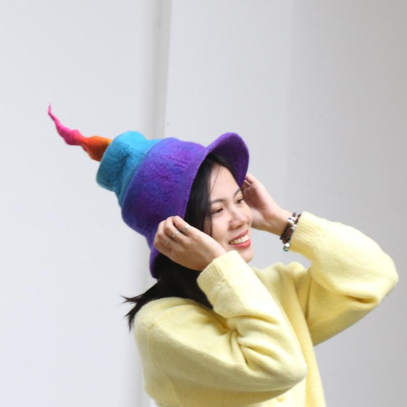 Yün Keçe Şapka Kadınlar Sihirli Gökkuşağı Degrade Renk Karakteristik Şapka Sihirbazı'nın Ebeveyn-Çocuk Hediye Bayanlar Şapka Yeşil Cadı
