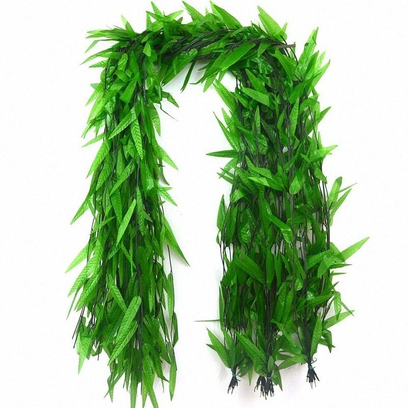50 Strands Artificial Vine Fake Leaves Silk Willow Rattan Wicker Twig For Jungle Party Supplies CNIM Hot iiVb#