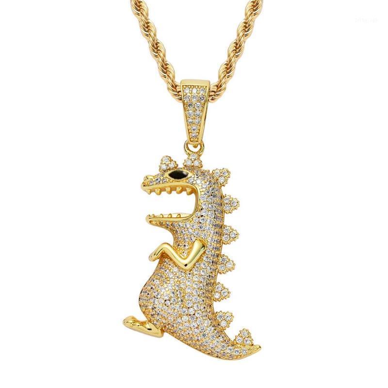 Mathalla мужская мужская хип-хоп животных динозавров CZ кулон ювелирные изделия из кубического циркона подвесной латунный медь золотая цепь ожерелье joyeria1
