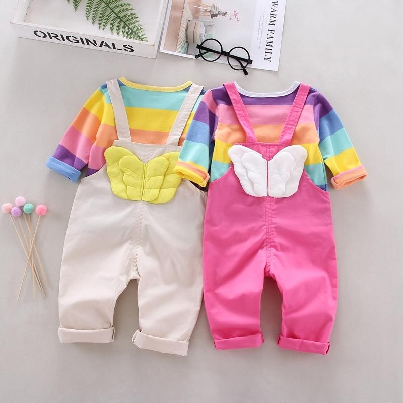 Autumn Baby Girls Clothes 2pcs Long Sleeve Striped Print T-shirt Tops+Strap Pants With Wings Design Casual Outfits Set 201126