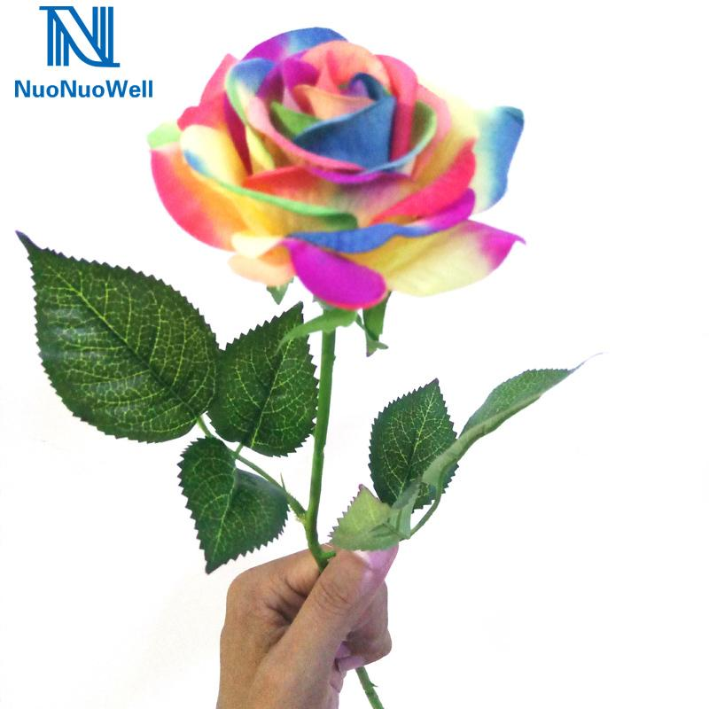 NuoNuoWell 10 PCS única haste de flor de seda colorido Artificial real Wedding Toque Rose Rainbow Home Decor presente de casamento Bouquets C0930