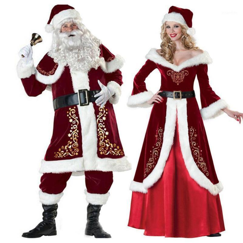 Weihnachten Santa Claus Anzug Kostüm Cosplay Santa Claus Kleidung Kleid in Weihnachten Kostüm Anzug Männer Frauen mit weißem Bart1