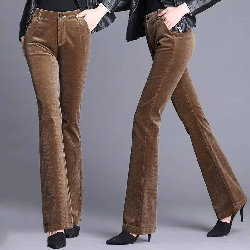 Fashion Corduroy High Waist Skinny Flare Pants Classical Vintage Flared Trousers Office Lady Butt Lifting Bell Bottoms Pants 201106