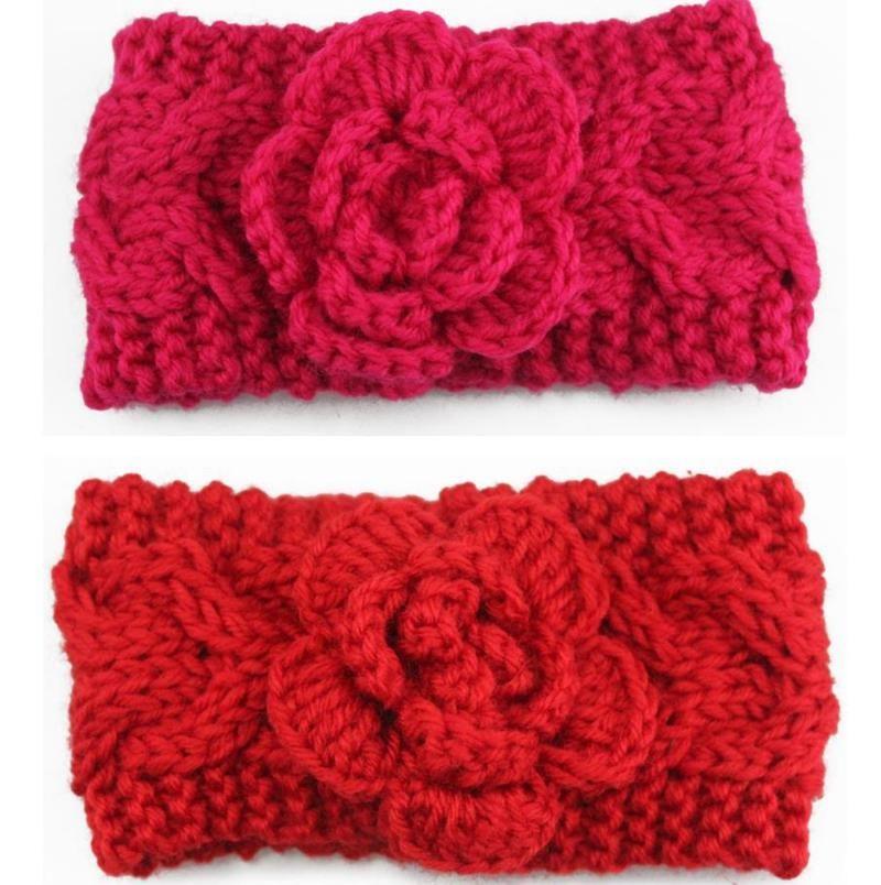 2020 Flower Baby Girl Head Bandes Tricoté Bandeaux enfants Tressé Ear Warmers Hiver chaud Headwrap Mode Accessoires cheveux 8 couleurs