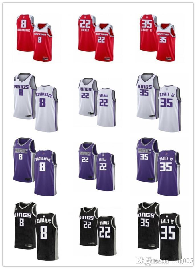 NCAA hombres mujeres juventudSacramentoReyes8 Bogdan Bogdanovic 35 Marvin Bagley III 22 Romaun Holmes Púrpura Jersey de baloncesto personalizado