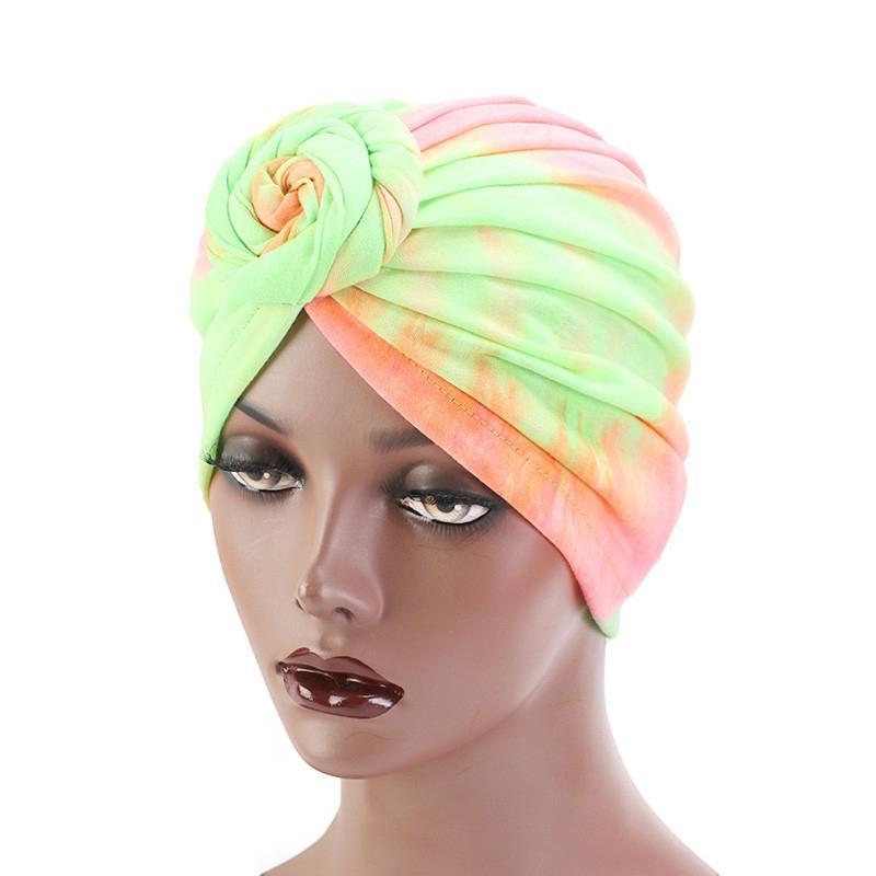 Tie Dye Cotton Spiral Turban Fluorescente Fluorescente All-Match Donna Accessori per capelli Fashion Ladies Headwrap Stampa Sciarpa