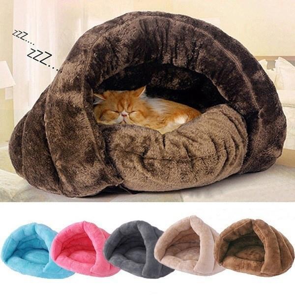 Pet Cama de Gatos Cães macio ninho Kennel Bed Cave House Sleeping Bag Mat Pad Tent animais inverno quente aconchegante camas 2 Tamanho S L
