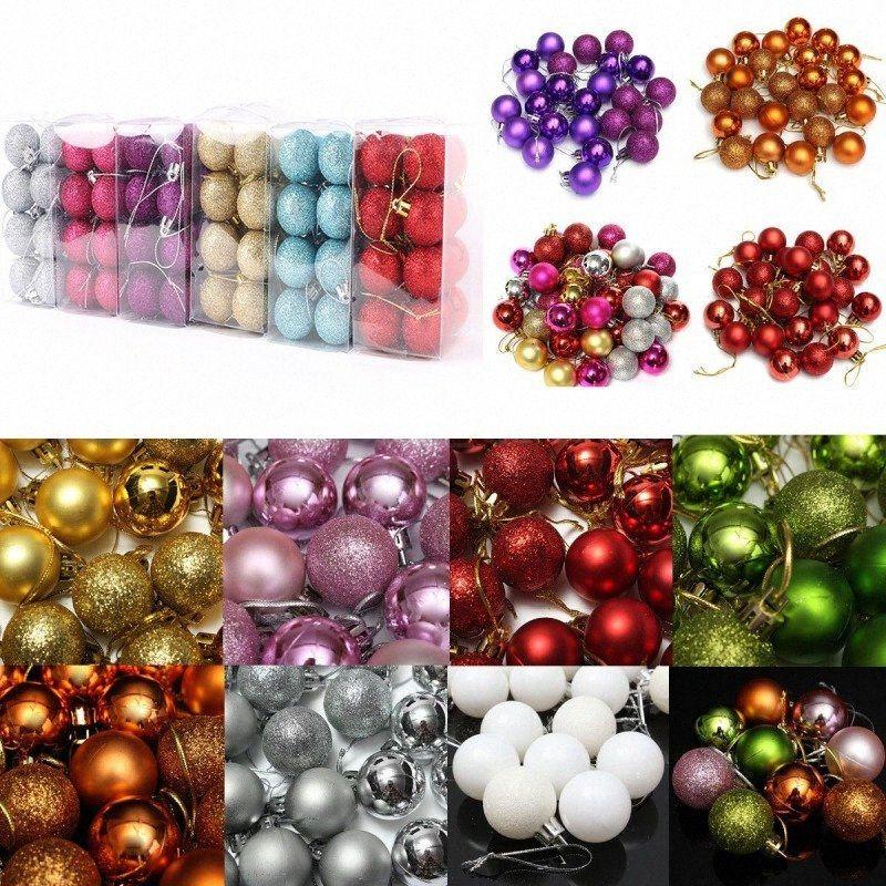 24 шт / Set Блеск Chic Christmas Tree бал блесна Xmas венчания партии висячие украшения Новогоднее украшение WwM2 #