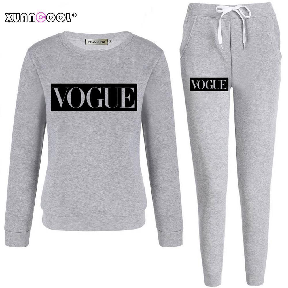 Xuancool 2020 трексуит для женщин осень зима мода модные буквы с длинным рукавом толстовка длинные брюки набор женский наряд S-XXL C1103
