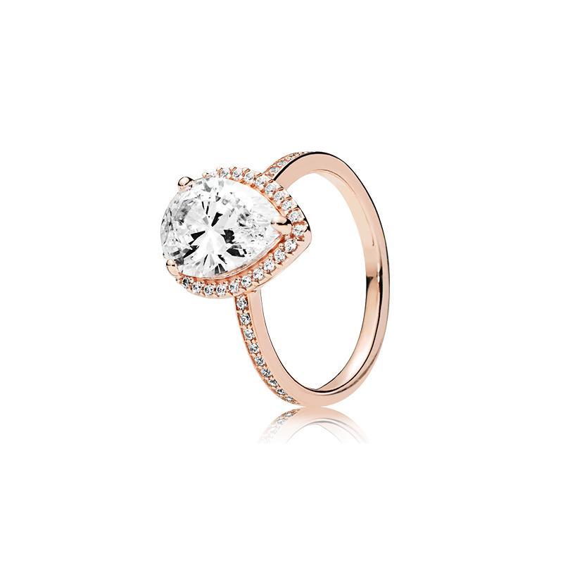 18k Rose Gold Tränen Drop CZ Diamant Ring Mit Original Box Für Pandora 925 Silber Eheringe Set Engagement Schmuck für Frauen