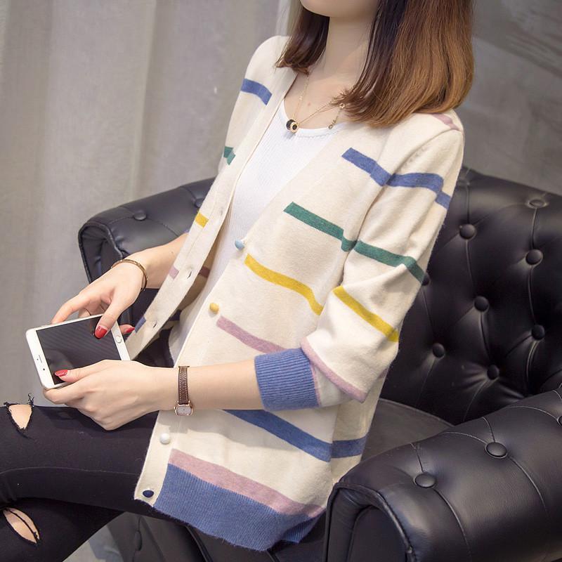 Adolescente Fresh Knit Cardigan a strisce a strisce a strisce maglione maglione maglione cappotto signore cardigan maglione primavera autunno moda selvaggio moda
