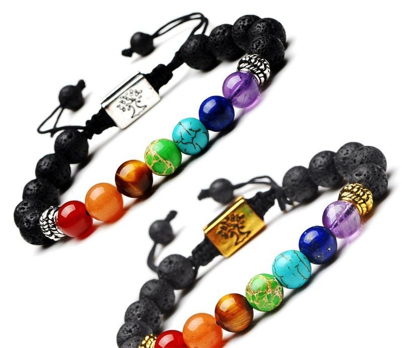 Weaving Beads Bracelet Rectangle Tree Of Life 7 Chakras Yoga Chain Natural Energy Stone Women Men Jewelry Hand String Bracelets 4 1by G2B