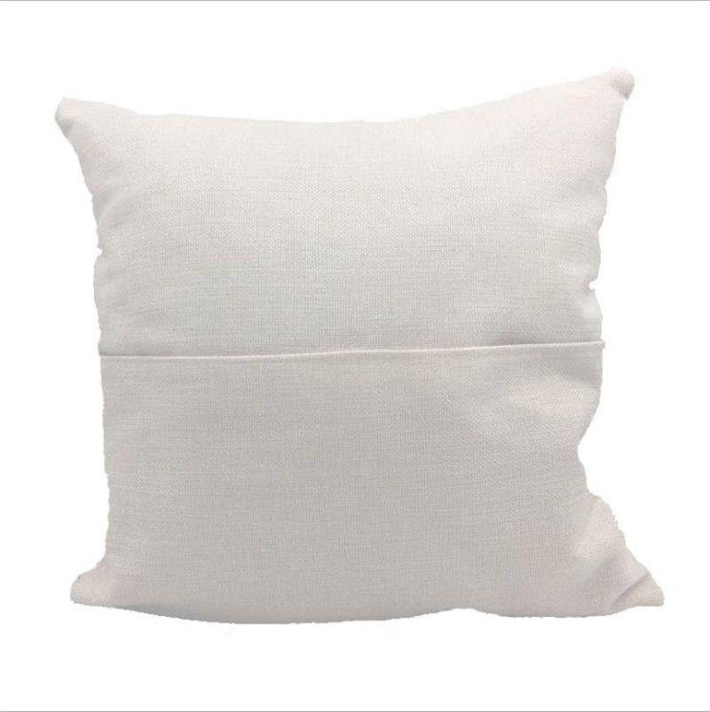 Süblimasyon Boş Yastık Kılıfı 40 * 40 cm Katı Renk Kitap Cep Yastıklar Kapak Kişiselleştirilmiş Bej Beyaz Polyester Keten Yastık Home Panch Kapakları