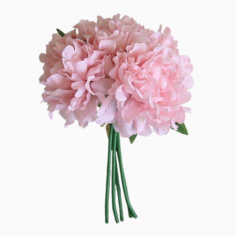 Fleur artificiel paquet de la soie pivoine bouquet simulation hydragea branche décoration de fleur maison mariage main tenir la guirlande1