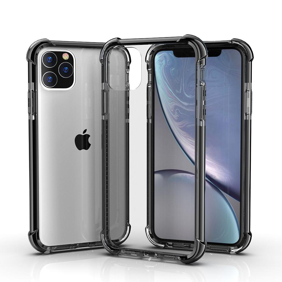 Couleurs anti-choc double hybride TPU transparent acrylique transparent dur de couverture pour iPhone 11 Pro XS MAX XR 6 7 8 Plus