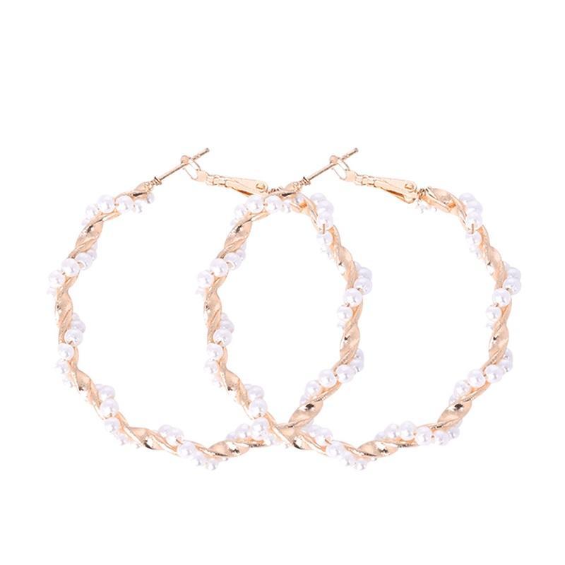 Orecchini a cerchio di perle di modo per le donne Le ragazze eleganti esagerano gli anelli dell'orecchio del cerchio del cerchio di oversize dei monili della spiaggia di estate 138 m2